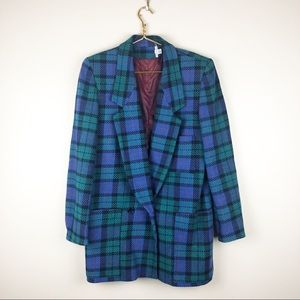 Vintage 80s Oversized Plaid Blazer One Button